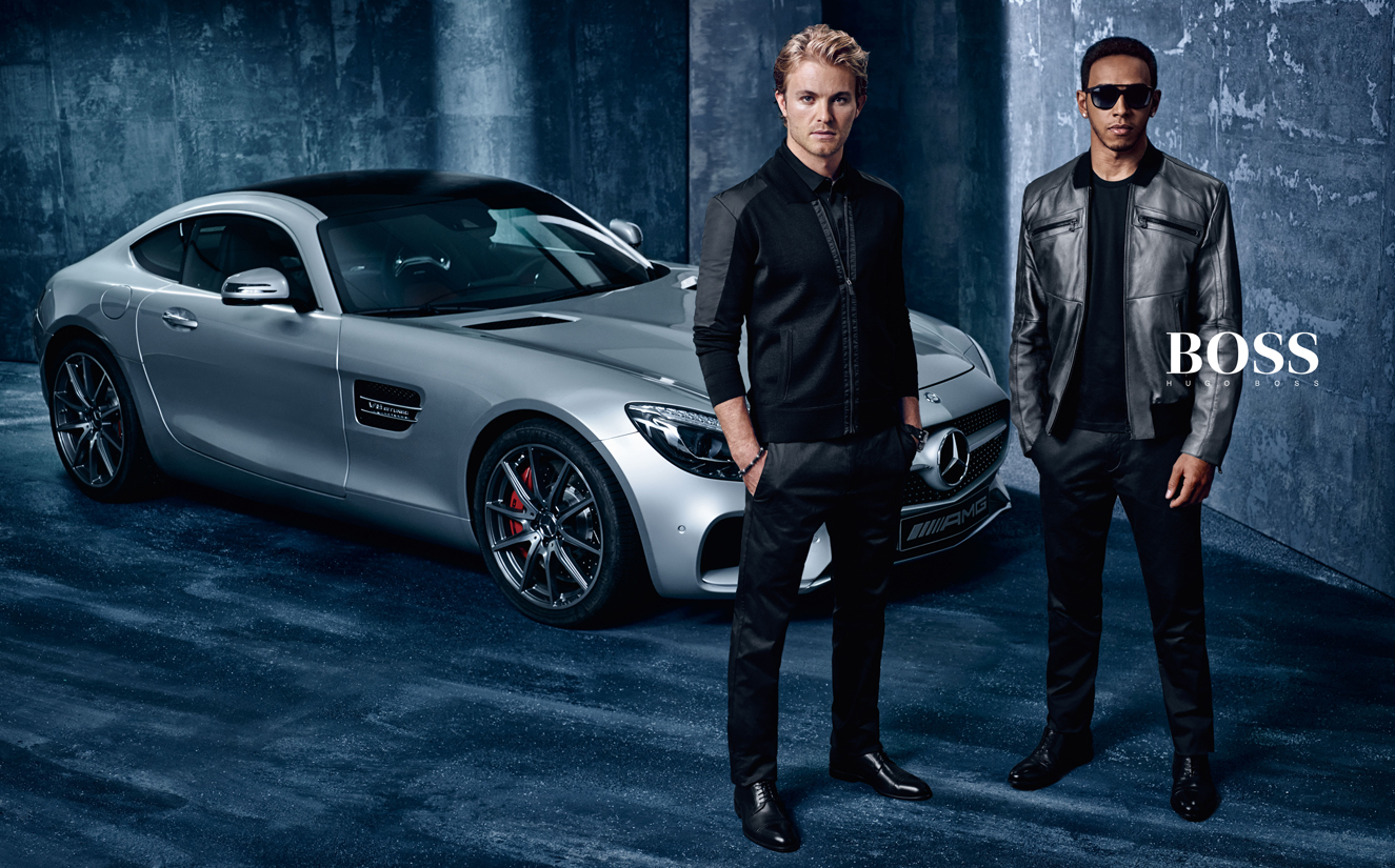 hugo boss f1 with lewis hamilton and nico rosberg hunter gatti. Black Bedroom Furniture Sets. Home Design Ideas